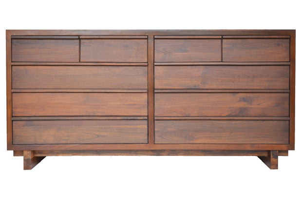 Reclaimed Teak wood Klasik 10-Drawer Split Dresser