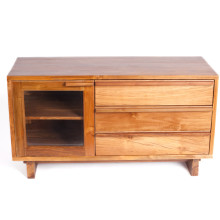 Klasik One-Door Three-Drawer Media Cabinet Honey Finish