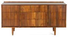 Modern Shingled Two-Door Three-Drawer Credenza