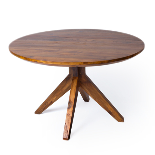 """Our round 48"""" Fontane Dining Table in a rich mocha finish, with pedestal legs of reclaimed teak."""