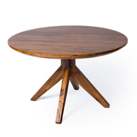 "Our round 48"" Fontane Dining Table in a rich mocha finish, with pedestal legs of reclaimed teak."