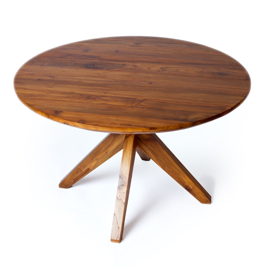 Our round Fontane Dining Table in a rich mocha finish, with pedestal legs of reclaimed teak.