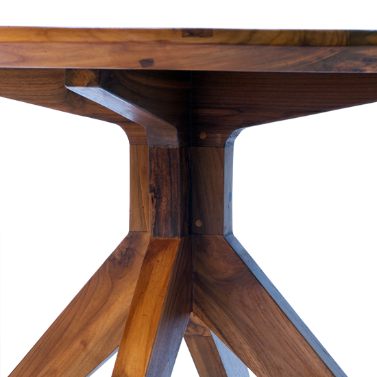 Our Fontane Dining Table Base is a pedestal style, handcrafted of reclaimed teak with a rich mocha finish.