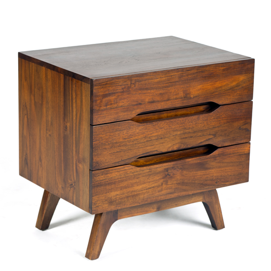Our Benson End Table in a mocha finish has wooden pedestal legs and soft-closing drawers.