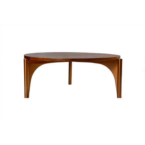"The Wellis Cocktail table features a 2"" round portion of solid reclaimed teak wood and gold-tone reclaimed steel."