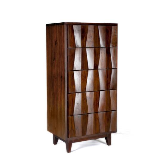 Gorgeous Sculptural Diamond Front Mid-Century Modern Dresser by Teak Me Home Reclaimed Wood Furniture