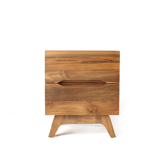 This image of our Benson 2-Drawer End Table in a natural finish is compact and functional, with 2 deep self-closing drawers.