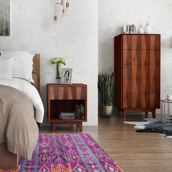 Ravere 5-Drawer Tower and End table showcases the undulating pattern of the reclaimed teak in a rich mocha shade.