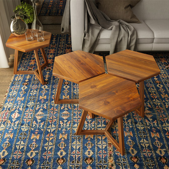 This image shows how versatile our Hexi End Tables can be—end tables, stools or group together to form a coffee table.