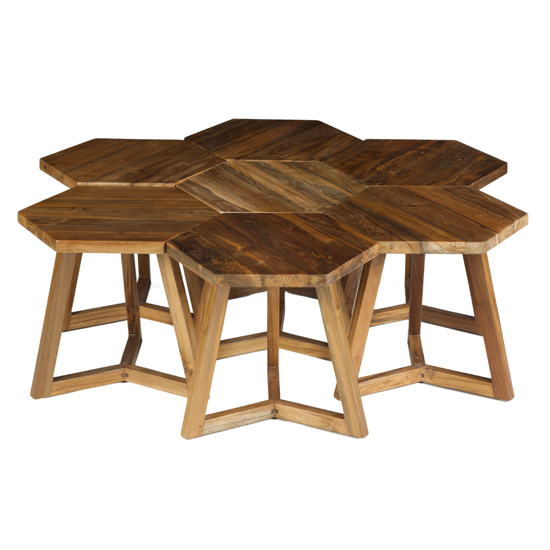 This image of our Hexi End Tables showcases 6 individual tables that can be used alone or grouped. They're also sturdy enough to be used as stools.