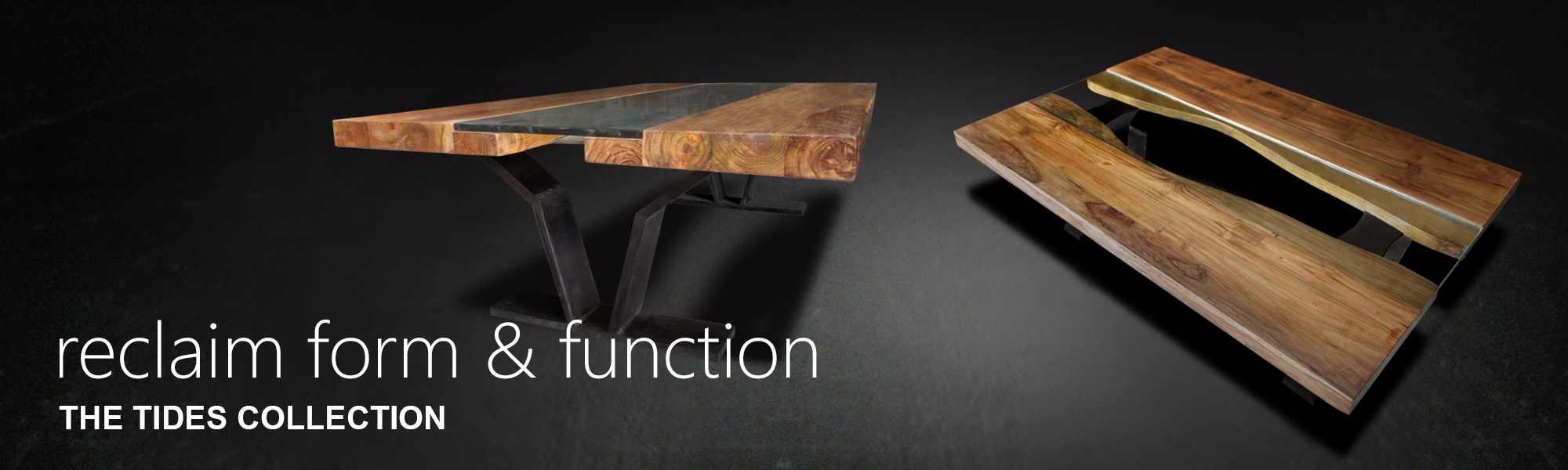 This image of the Tides Modern Rectangle Coffee Table Table is made from two pieces of reclaimed teak joined by a piece of glass, with a sleek V-shaped iron base.