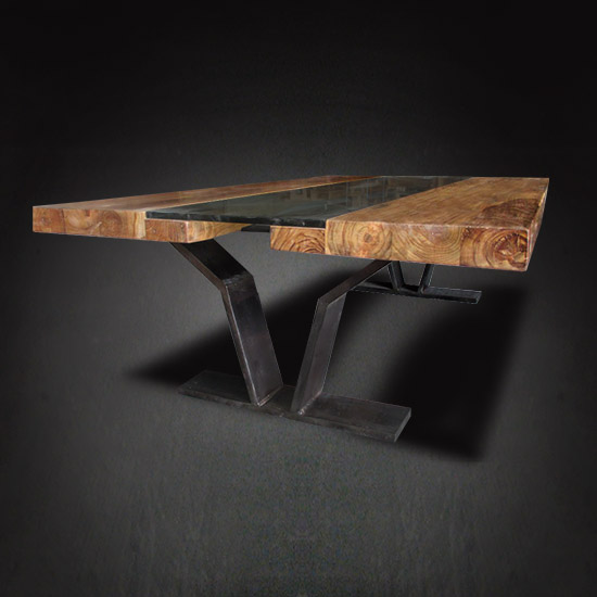 Our Tides Modern Cocktail Table's top is paired with an architectural V-shaped iron leg base that contributes to the table's dramatic design.