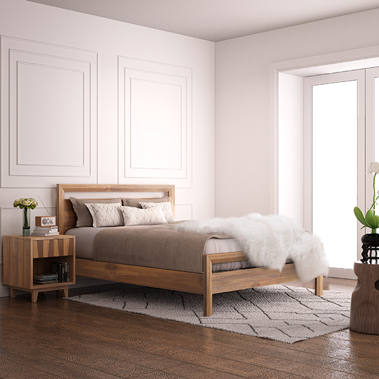 Our Ravere Platform Bed Frame is low and sleek, designed for a mattress only.