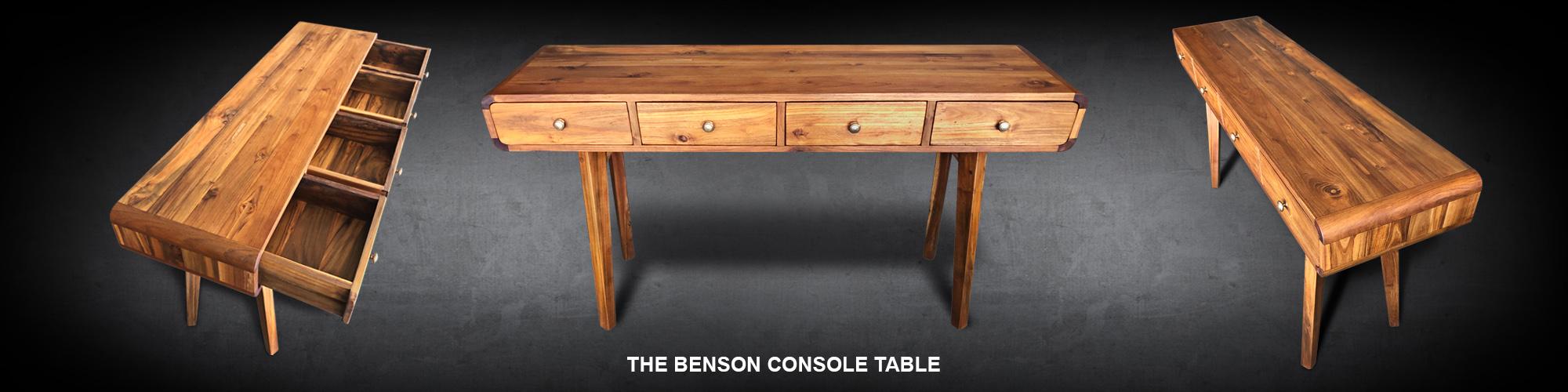 Mid-Century Modern Benson console handcrafted reclaimed teak wood