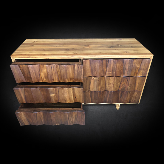 The Ravere Dresser has six soft closing drawers that provide plenty of storage. As with all of our furniture, the Ravere Dresser is handcrafted from solid, reclaimed teak wood. Handcrafted by Teak Me Home in Berkeley, California.