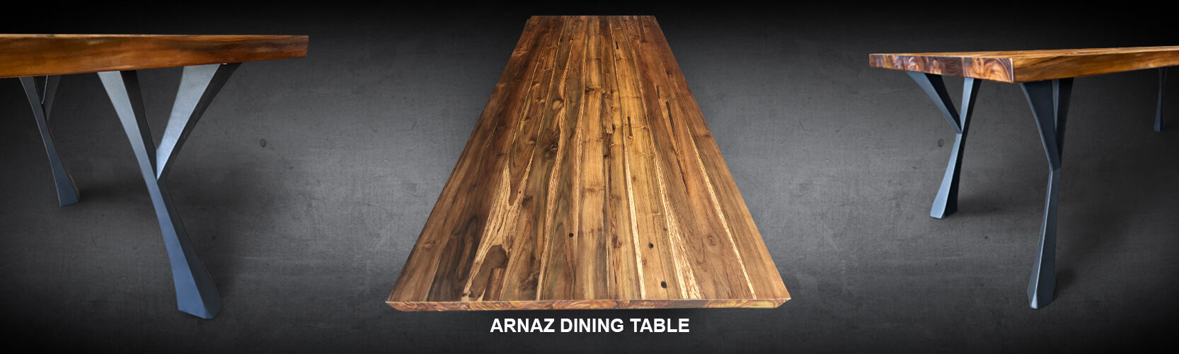 Arnaz Dining Table Reclaimed Teak Wood Iron Base