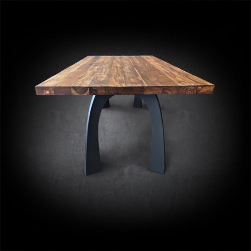 Coopertino Dining Table Reclaimed Teak Wood Modern Wishbone Iron Base