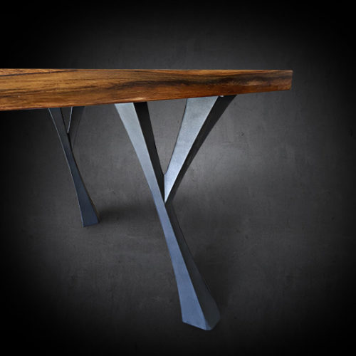 Arnaz Dining Table Reclaimed Teak Wood Iron Base